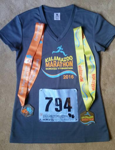 Kalamazoo Marathon Shirt and Medal