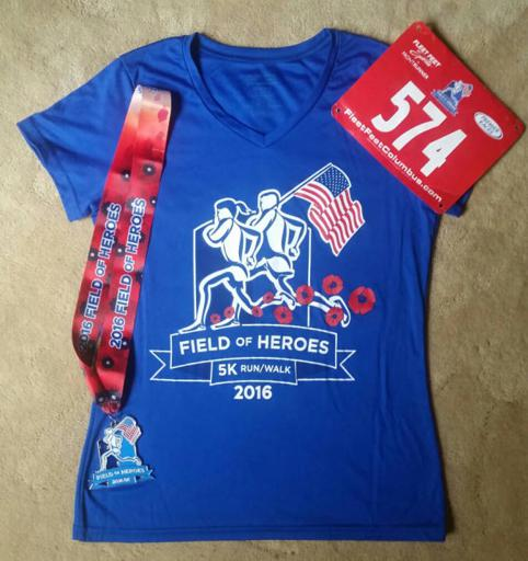 Field of Heroes 5k shirt and medal