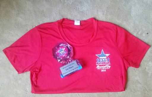 UACA 5 miler shirt and trophy