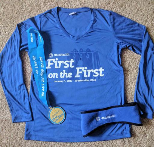 First on the First 5k Shirt Medal and Ear Warmers