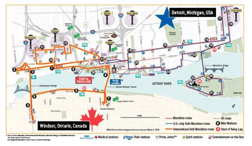 Detriot Free Press / Chemical Bank Marathon Course Map 2017