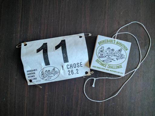 Brokebabes Marathon Medal and Bib