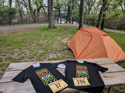 Rock Cut State Park view of Tent and Rockford Marathon Shirt, Bib, and Stickers 2017