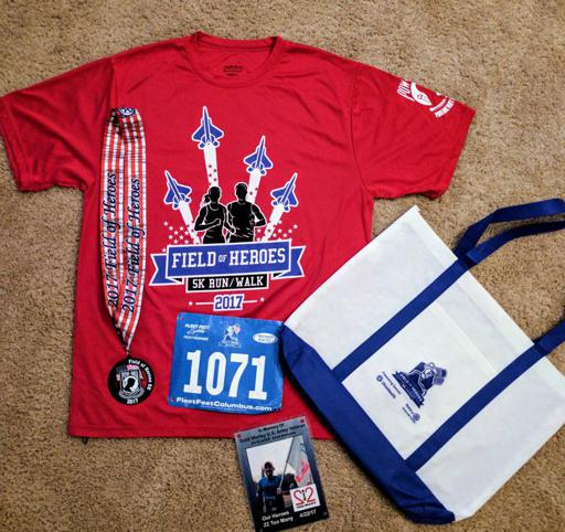 Field of Heroes 5k Finisher Swag: Shirt, Medal, Bib, Bag 2017