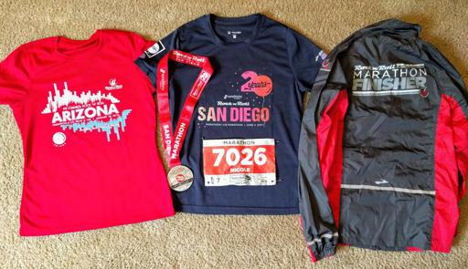 San Diego Rock n Roll Marathon Shirt, Bib, Medal, Finishers Jacket