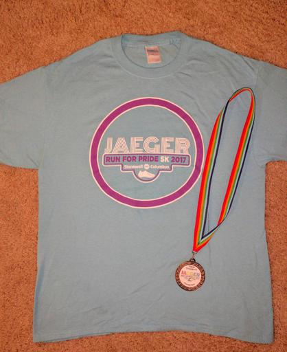 Jaeger 5k Run for Pride Columbus, Ohio 2017 Shirt and Medal