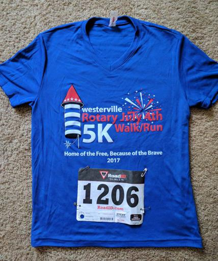 July 4th Westerville Rotary 5k Race Shirt and Bib 2017