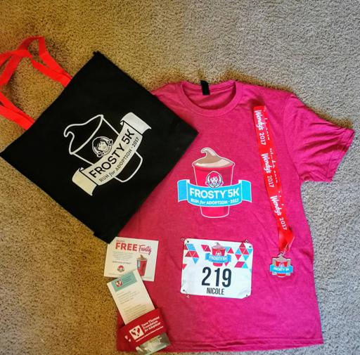2017 Wendy's Frosty 5k Race Shirt, Race Medal, Bag, and Other Items