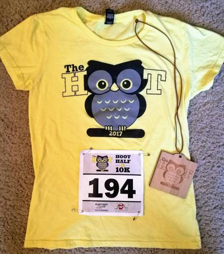2017 The Hoof Half and 10k Race Shirt, Race Medal, and Bib