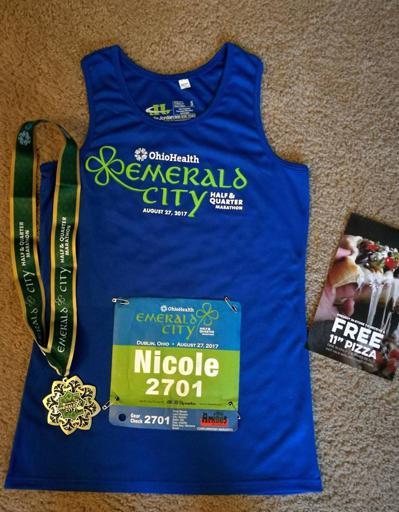 2017 Emerald City Half and Quarter Marathon Tank Top, Medal, Bib, and Pizza Coupon