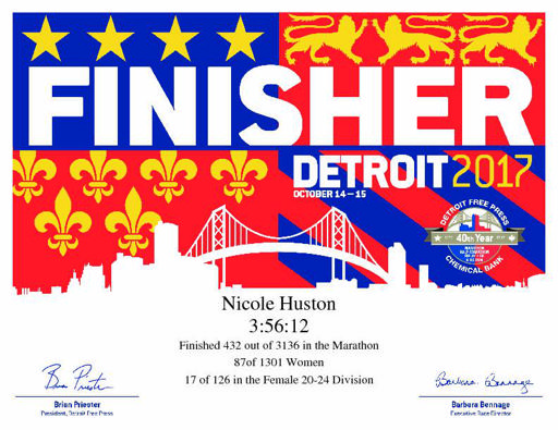 Detroit Marathon Finisher's Certificate 2017