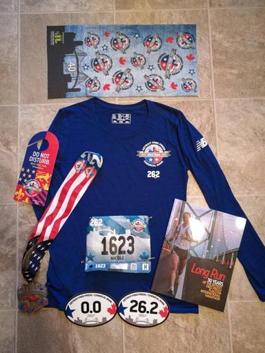 Detroit Marathon Swag (Shirt, Medal, Buff, Bib) 2017