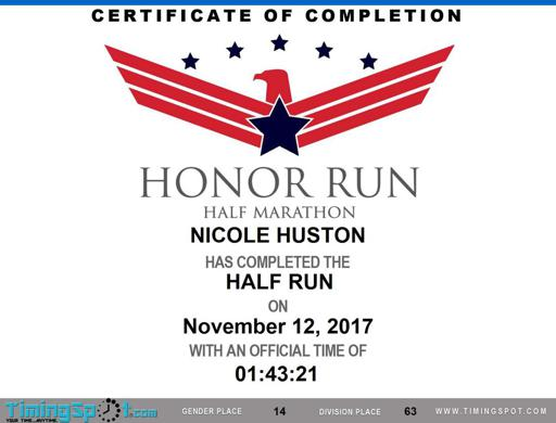 Honor Run Half Finisher's Certificate 2017