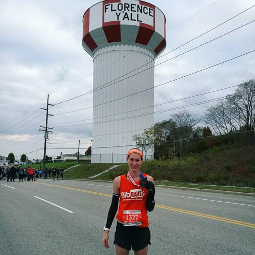 Honor Run Half Finisher Picture with Florence Y'All Watertower 2017