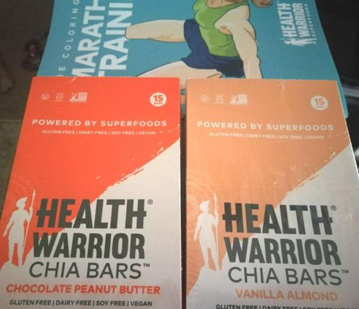 Health Warrior Chocolate Peanut Butter and Vanilla Almond Chia Bars and Marathon Training Coloring Book