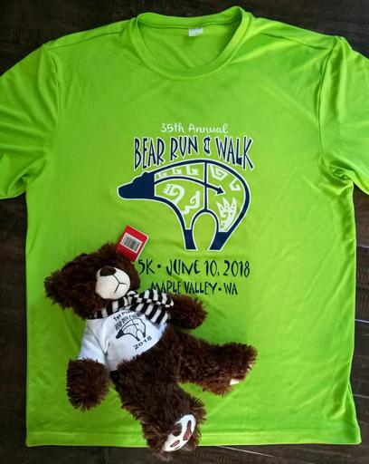 2018 Maple Valley Bear Run shirt and Bear age group award