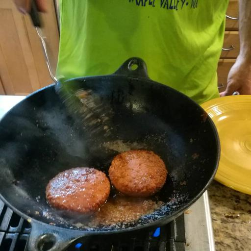 Cooking Beyond Meat Burgers at Home on Grill Stove Top