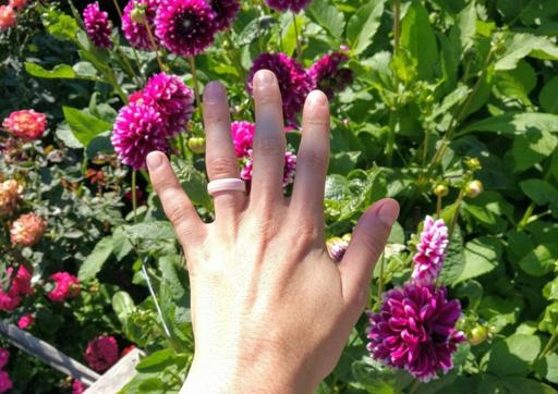 Karma Ring Co Duo Set Silicone Rings matching Pink Flowers in West Seattle