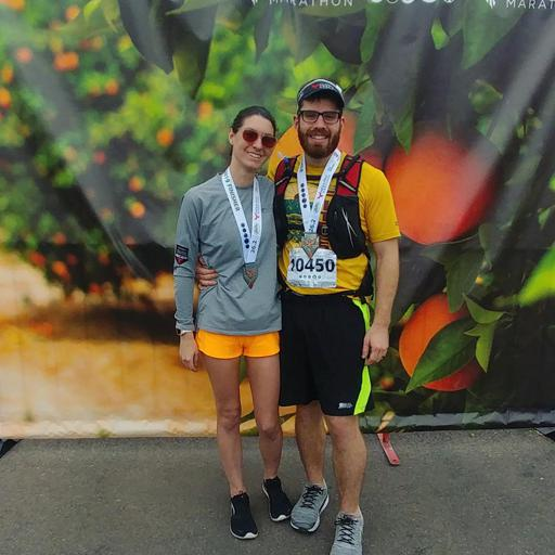 2019 Mesa Phoenix marathon finisher Picture with husband and Citrus