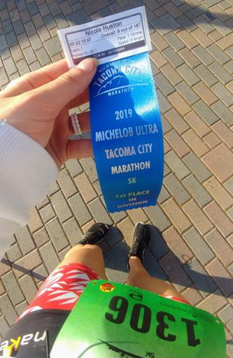 2019 Tacoma City 5k Age Group Blue Ribbon Award